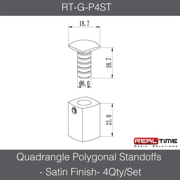 Quadrangle Polygonal Standoffs - Satin Finish